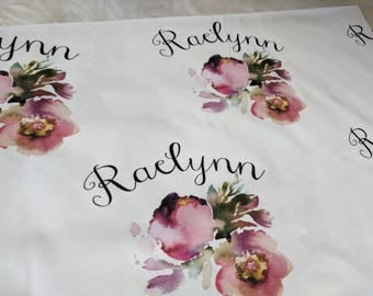 Personalized watercolor pink swaddle blanket: baby and toddler personalized name newborn hospital gift baby shower gift