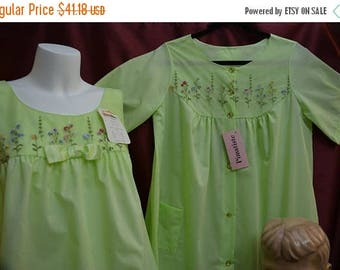 SHADOWLINE Peignoir, COTTON, Lime Green, Robe, Nightgown, NOS With Tags, Vintage  60s, Small, Med