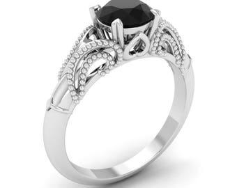 Black Diamond Engagement Ring, 14K White Gold Anniversary Ring, Wedding Ring, Vintage Ring, Promise Ring, Diamond Solitaire Ring, Gift
