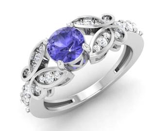Natural Tanzanite Engagement Ring   SI Diamond Wedding Ring   0.4 Carat Tanzanite Rings   Round Cut   AAA Quality Tanzanite White Gold Ring