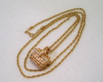 "Vintage Signed Swarovski / Necklace & Pendant / Gift Basket Designed Pendant / 31"" Opera Length Chain /  Signed Swan Logo"