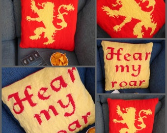 """Instant Download Cushion Knitting Pattern """"Lannister"""" (Game of Thrones), for straight needles"""
