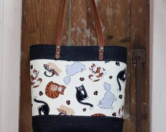 Fabric Shopper bag with cats and leather handles