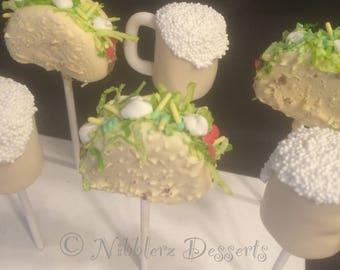 6 TACOS AND BEER cake pops, looks like dinner, but it's dessert!