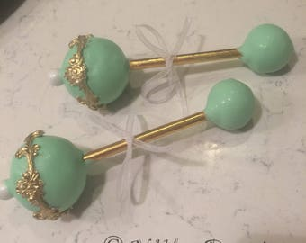 12 GOLD and *any color* Baby Rattles, Baby Rattle cake pops, Baby shower,