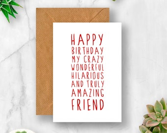 Sweet Description Happy Birthday Friend Card, Card for Friend, Amazing Friend Card, Friend Birthday Card, Cute Birthday Card, Funny Birthday