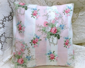 Shabby Chic Vintage Laura Ashley Pillow Slipcover Pink Isabelle Roses
