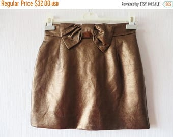 CIJ SALE Vegan Leather Skirt Women Mini Skirt Brown Leather Skirt Bronze Faux Leather Skirt Hot Sexy Skirt Bow Tie Skirt Small Size Skirt