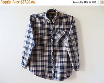 CIJ SALE Plaid Women Shirt Checked Shirt Cotton Women Shirt Grunge Oxford Shirt Long Sleeve Shirt Hipster Indie Lumberjack Soft Work Shirt L