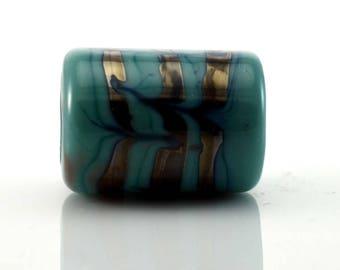 Raked Copper Rings on Turquoise Handmade Glass Lampwork Bead