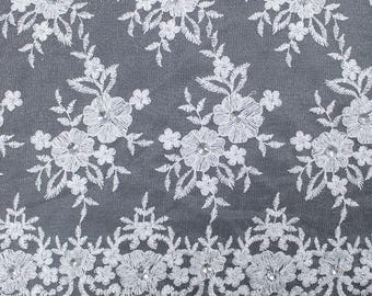 Silver Embroidery Flowers with Rhine stones on a Mesh Lace Fabric by the Yard-Style- 2882