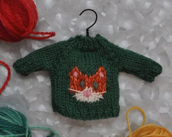 Orange Tabby Cat Hand-Knit Sweater Ornament