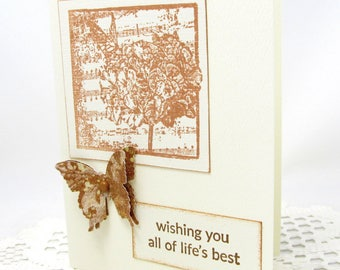 Butterfly Card - Wishing You All of Life's Best - Vintage Style - Sepia Colored - Blank Card - Sepia Butterfly Card - Vintage Sheet Music