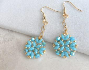 Turquoise dangle earrings, Turquoise long earrings, Turquoise flowers jewelry, Turquoise gold earrings, Turquoise jewelry gift