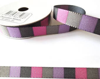 2 m x fancy 10mm square purple grosgrain Ribbon