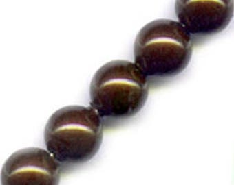 10 x 10 mm chocolate Pearly round glass beads