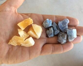 6 Blue Calcite 6 Yellow Calcite = 12 pieces total