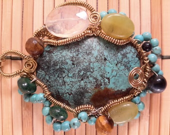 OOAK Gorgeous Turquoise & Gold Wire Wrapped Necklace