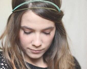 Headband elastic resin bronze chain