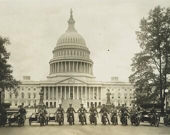 Motorcycle Policemen, 1922, Washington D.C., US Capitol