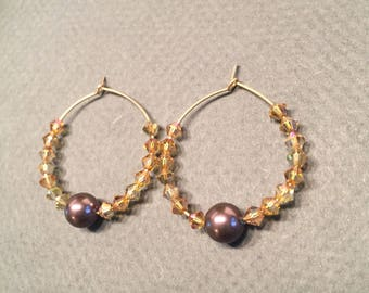 Gold Filled Hoops Earrings with Swarovski Pearls and Crystal FREE SHIPPING