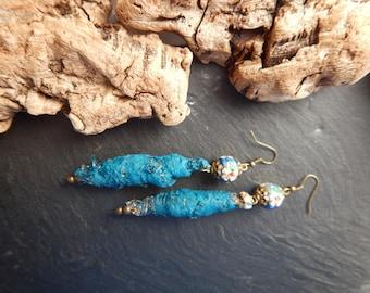 Bollywood: textile art earrings