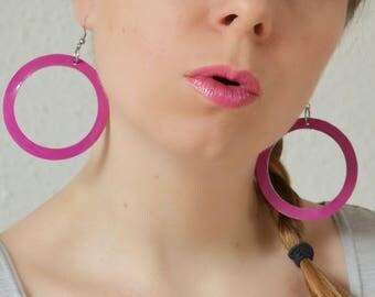 Leather hoop earrings, Large earrings, Pink jewelry, Geometric, Neon jewellery, Statement earrings, Girlfriend gift, Leather anniversary