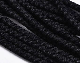 """On Sale NOW 25%OFF 5mm Poly Braided Pvc Wire Core Cord - Black - 16"""""""