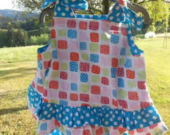 Tunic and blue and white bloomer set