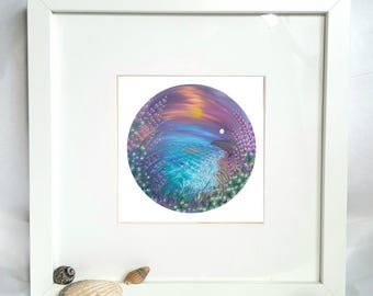 Framed print Twilight Dreams, dreamy seascape, archival quality print in a chunky frame, home decor ready to hang or stand