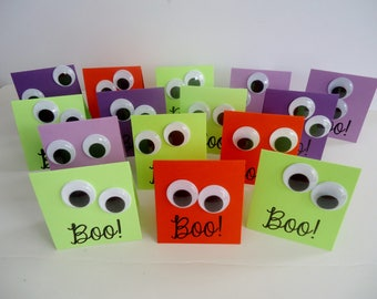 15 Halloween mini cards with Googly eyes - Great for Halloween parties, goody bags, treat bags -Funny giggle eyes to say BOO to you!
