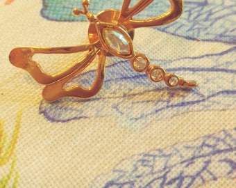 Dragonfly Pin With Rhinestones