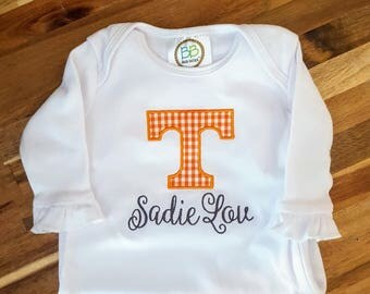 Tennessee onesie etsy tennessee personalized applique game day bodysuit gown or tee vols baby gift tennessee negle Choice Image