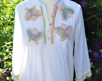 Beach dress tunic 38, 40, 42, Freesize caftan embroidered white Batiste M L XL