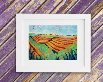 Amber Pastures - Impressionist Landscape Painting - Farm Landscape - Original Oil Painting - 12 x 9