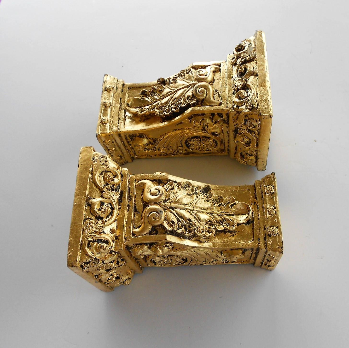 6 5 H Gold Leaf Shelf Sconces Pair of Shelf Sconces Rectangular