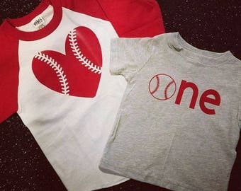 Baseball ONE Shirt & Matching Big Sister Baseball Tee