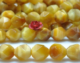 47 pcs of Golden light Tiger Eye Faceted nugget Stars beads in 8mm (06917#)