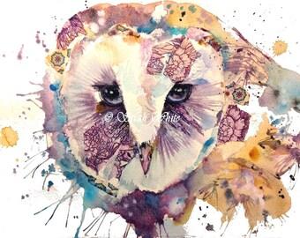 Owl Original watercolour & collage