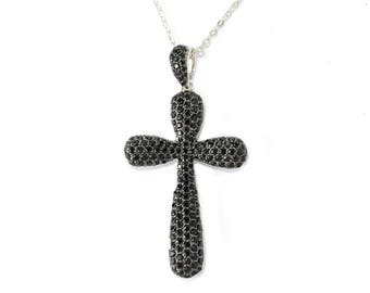 """Sterling Silver 2.9ctw Black Spinel Cross Shaped Pendant With 18"""" Chain"""