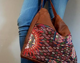 Woven Fabric and Leather Tote Bag, Upcycled and OOAK Loveliness