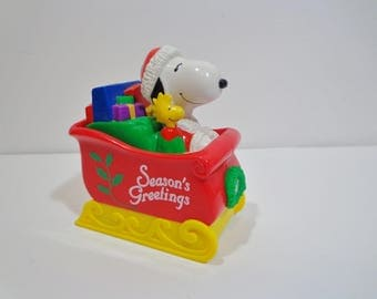 Peanuts Snoopy Whitman's Christmas Sled Coin Bank Candy Collectible 90s Nostalgia Gift, Stocking Stuffer Party Decoration