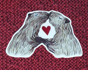 Kissing capybaras valentine sticker