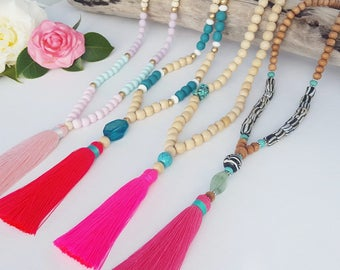 Pink Tassel necklace . Long beaded tassel necklace with neon pink, baby pink or raspberry pink tassel. wooden bead tassel necklace.