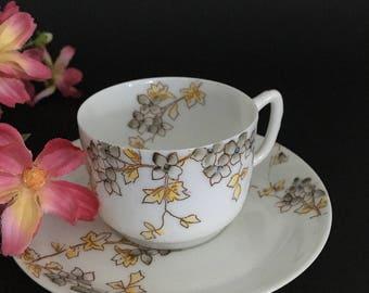 Antique Vintage Limoges French Bone China Demitasse Cup & Saucer