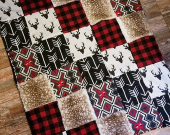 Woodsman/Lumberjack with Aztec, Deer, and Fawn Minky Patchwork Baby Blanket