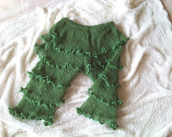 Baby trouser newborn boy photo outfit baby photografie Stretch Pants NEWBORN Knit Ruffle Pants MOOS GREEN Baby photo prop knit cloth