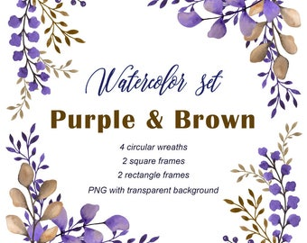 """Hand painted Watercolor Set """"Purple & Brown"""" for greeting card, digital card, clipart, printable, instant download, leaf frame, wreaths, png"""