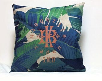 Personalized Monogram Pillow cover Wedding gift for Couples Established Date
