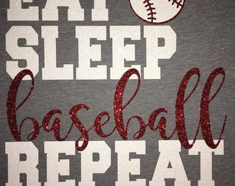 Women's Eat Sleep Baseball Repeat Glitter Shirt
